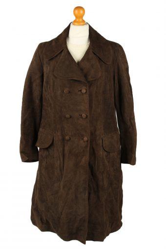 Vintage Womens Suede Jacket Coat Chest 40 in Dark Brown