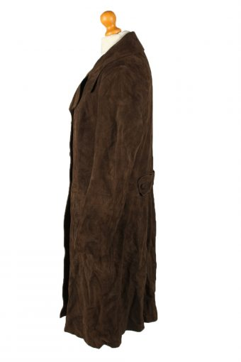 "Vintage Womens Suede Jacket Coat Chest 40"" Dark Brown -C2005-144772"