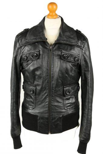 Vintage Womens Vera Pelle Leather Jacket Coat XL Black