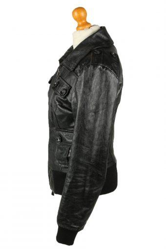Vintage Womens Vera Pelle Leather Jacket Coat XL Black -C2008-144784