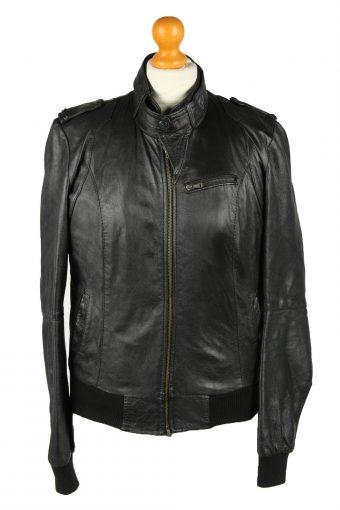 Vintage Womens Olmeda Leather Jacket Coat XL Black