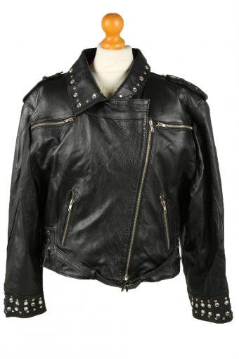 Vintage Womens Wistro Leder Leather Jacket Coat 42 Black