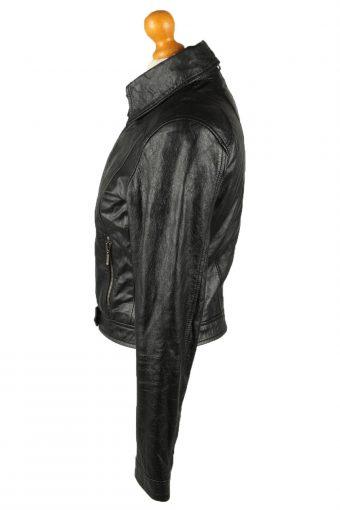 Vintage Womens Leather Jacket Coat 42 Black -C2014-144808