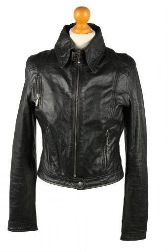 Vintage Womens Leather Jacket Coat 42 Black
