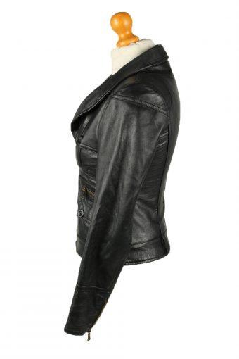 Vintage Womens Vera Pelle Leather Jacket Coat S Black -C2015-144812