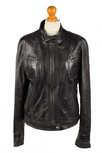Vintage Womens Vera Pelle Leather Jacket Coat 46 Black