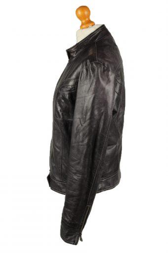 Vintage Womens Vera Pelle Leather Jacket Coat 46 Black -C2016-144816