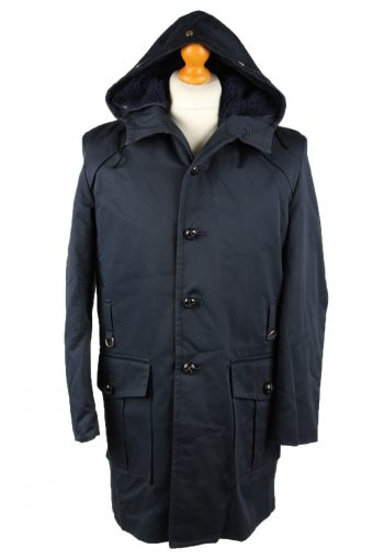 Vintage Mens Nino Military Hooded Parka Coat 80s Chest 44 in Navy