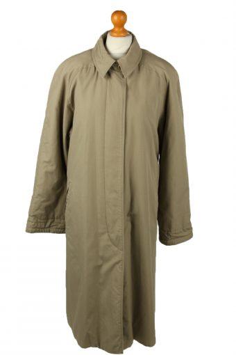 Vintage Womens Damart Full Length Trench Coat 90s 14 Brown