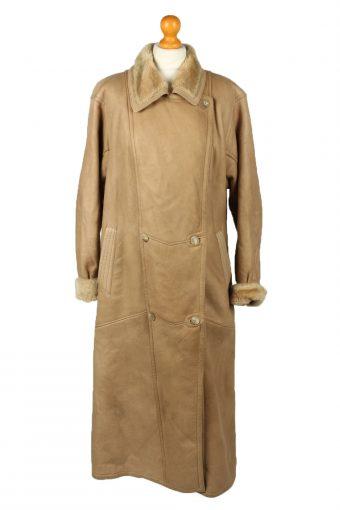 Vintage Womens Sheepskin Leather Coat 80s 40 Brown