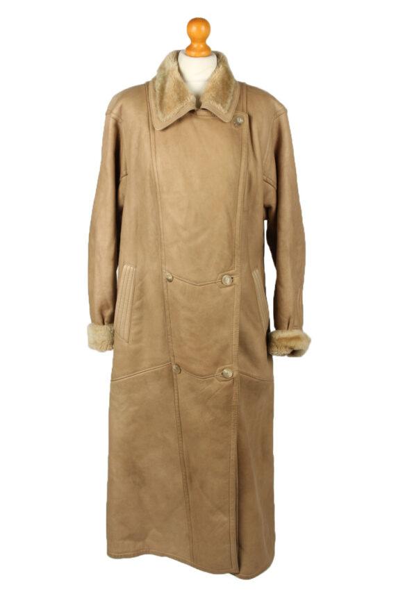 Vintage Womens Sheepskin Leather Coat 80s 40 Brown -C2058-0