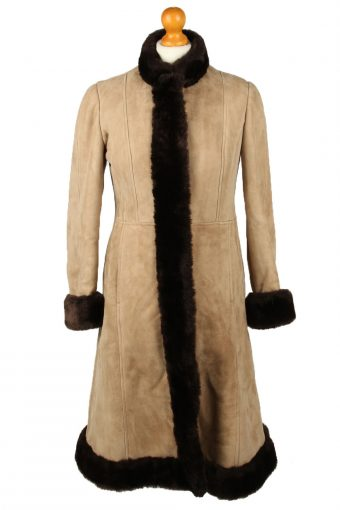 Vintage Womens Sheepskin Leather Coat 80s Chest 36 in Brown