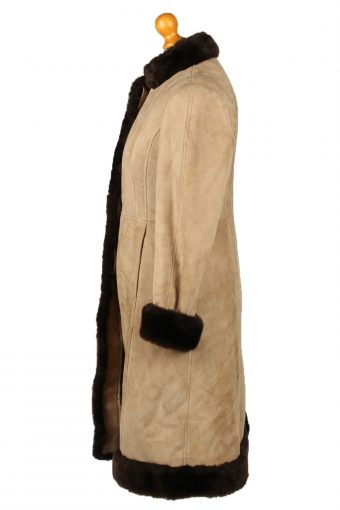 """Vintage Womens Sheepskin Leather Coat 80s Chest 36"""" Brown -C2059-145062"""