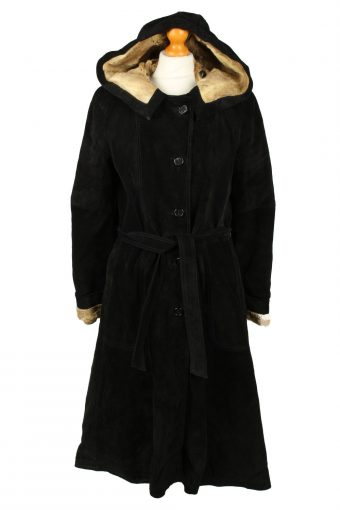 Vintage Womens Suede Coat 80s Chest 38 in Black