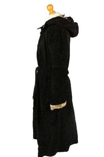 """Vintage Womens Suede Coat 80s Chest 38"""" Black -C2060-145066"""