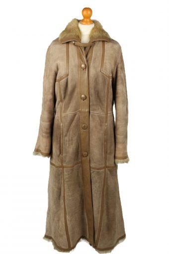 Vintage Womens Sheepskin Leather Coat 80s 42 Brown