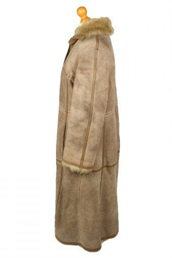 Vintage Womens Sheepskin Leather Coat 80s 42 Brown -C2061-145070