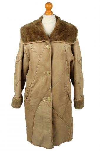 Vintage Womens Sheepskin Leather Coat 80s 38 Brown