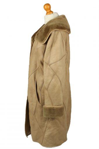 Vintage Womens Sheepskin Leather Coat 80s 38 Brown -C2064-145082