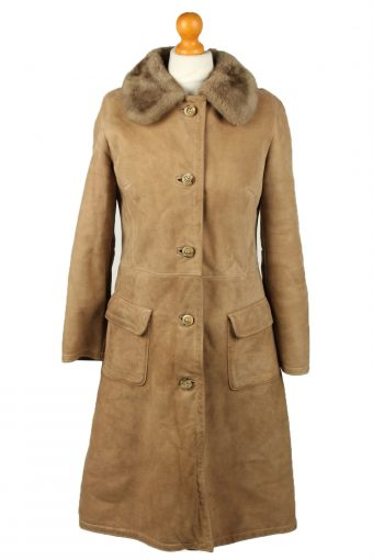 Vintage Womens Sheepskin Leather Coat 80s Chest 37 in Brown