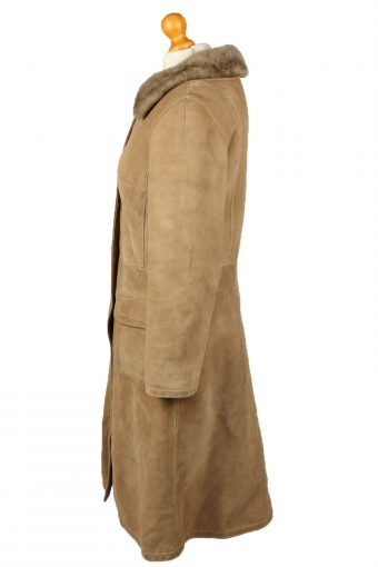 """Vintage Womens Sheepskin Leather Coat 80s Chest 37"""" Brown -C2065-145086"""