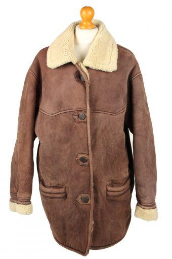 Vintage Womens Sheepskin Leather Coat 80s 18 Dark Brown