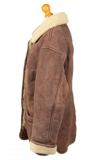 Vintage Womens Sheepskin Leather Coat 80s 18 Dark Brown -C2068-145098