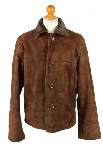 Vintage Mens Sheepskin Leather Coat 80s Chest 46 in Brown