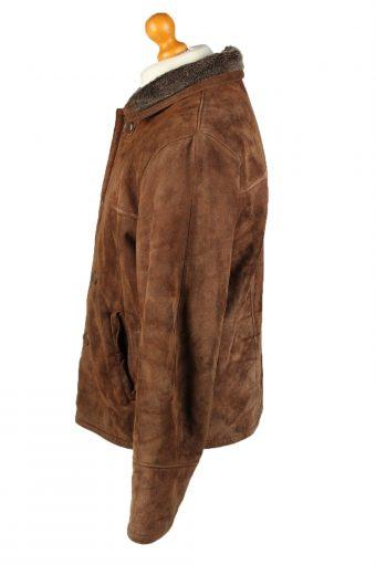 "Vintage Mens Sheepskin Leather Coat 80s Chest 46"" Brown -C2081-145150"