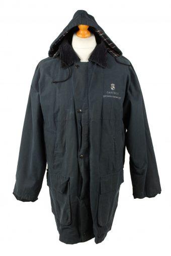 Vintage Hunter Mens Wax Coat Jacket 80s L Navy