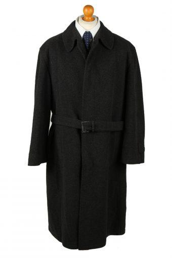 Vintage Wool & Cashmere Blended Mens Overcoat 90s 25 Black