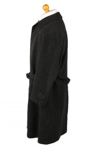 Vintage Wool & Cashmere Blended Mens Overcoat 90s 25 Black -C2106-145458
