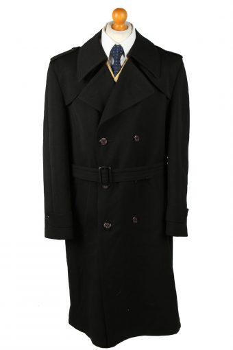 Vintage Mens Overcoat 90s Chest 46 in Black