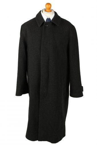 Vintage Wool & Cashmere Blended Mens Overcoat 90s 52 Black