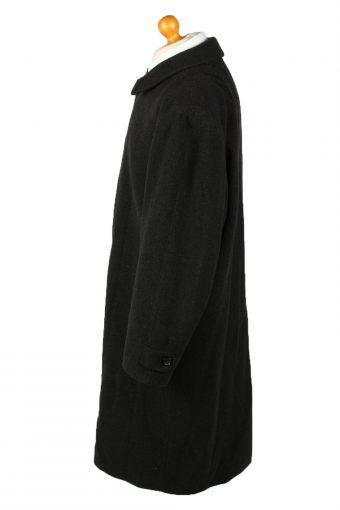 Vintage Wool & Cashmere Blended Mens Overcoat 90s 52 Black -C2108-145468