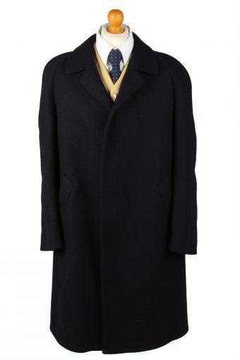 Vintage Glendale Mens Wool Overcoat 90s 27 Navy