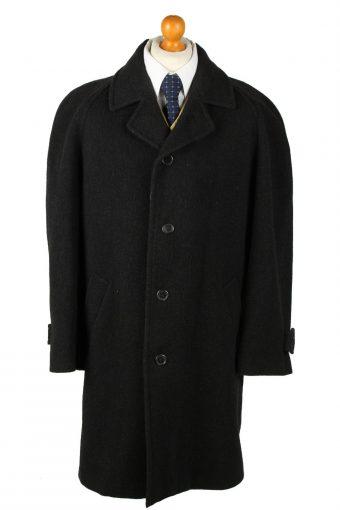 Vintage Canda Mens Wool Overcoat 90s 50 Black
