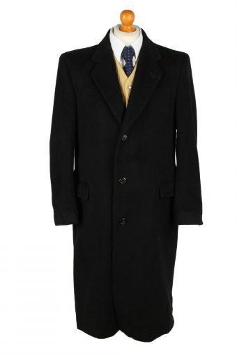 Vintage Wool & Cashmere Blended Mens Overcoat 90s 40R Black