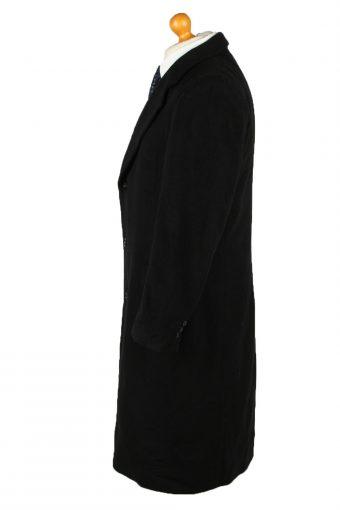 Vintage Wool & Cashmere Blended Mens Overcoat 90s 40R Black -C2111-145483