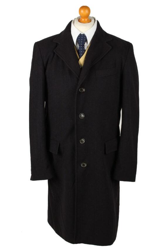 Vintage Bijenkorf Mens Overcoat 90s 50 Black -C2112-0