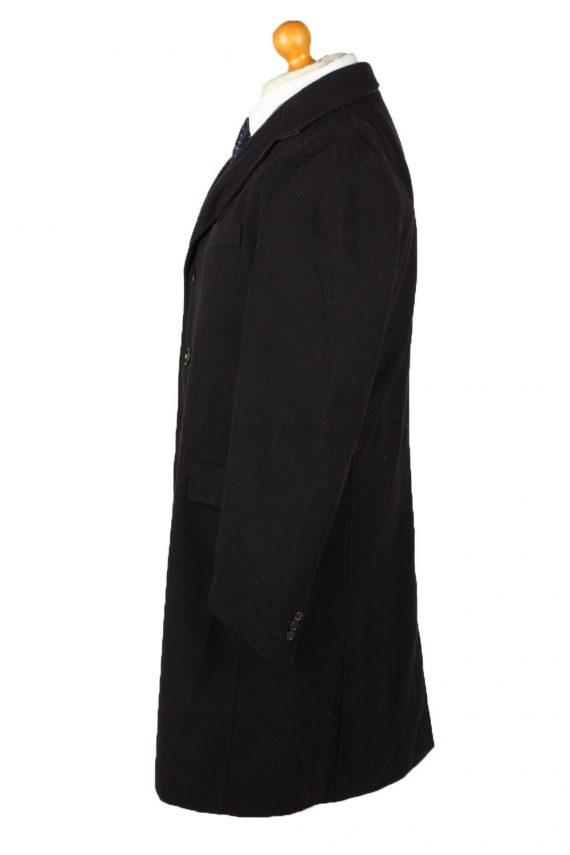 Vintage Bijenkorf Mens Overcoat 90s 50 Black -C2112-145488