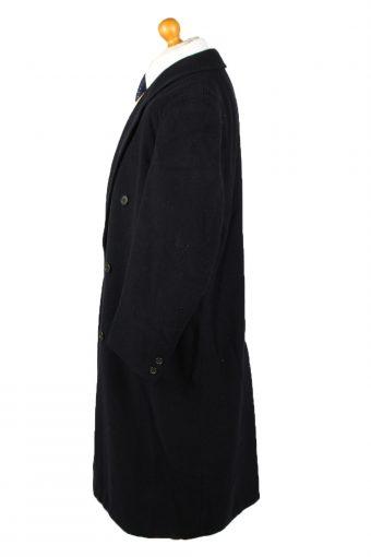 Vintage Wool & Cashmere Blended Mens Overcoat 90s 40R Navy -C2114-145498