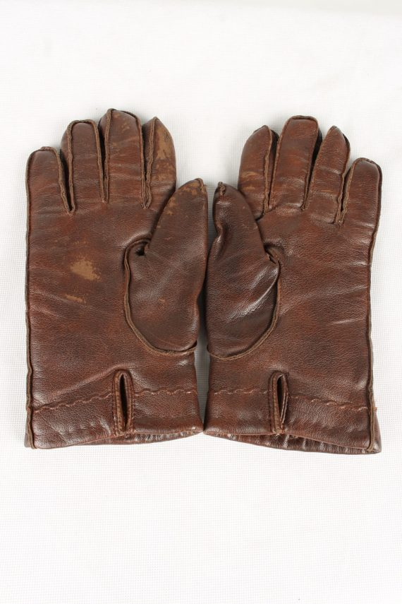 Vintage Womens Faux Leather Gloves 90s Brown G120-146490