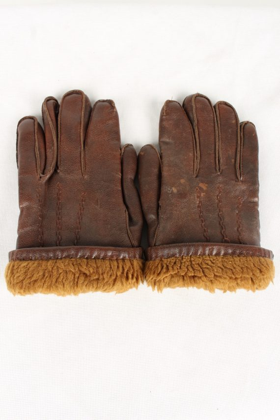 Vintage Womens Faux Leather Gloves 90s Brown G120-146491