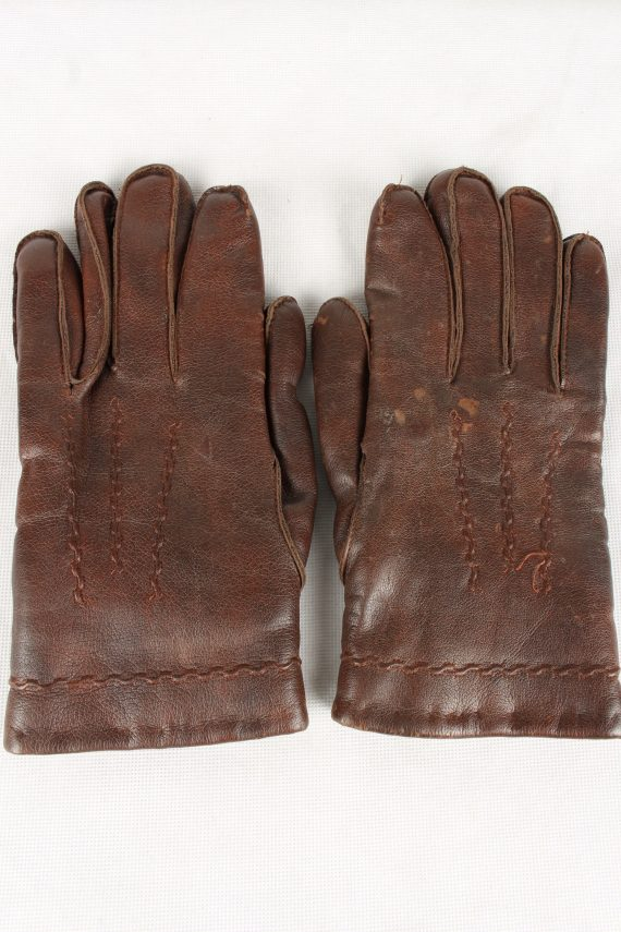Vintage Womens Faux Leather Gloves 90s Brown G120-0