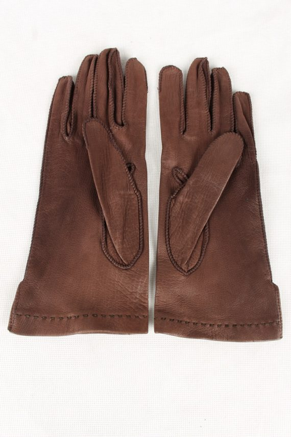 Vintage Womens Faux Leather Gloves 90s Brown G131-146534