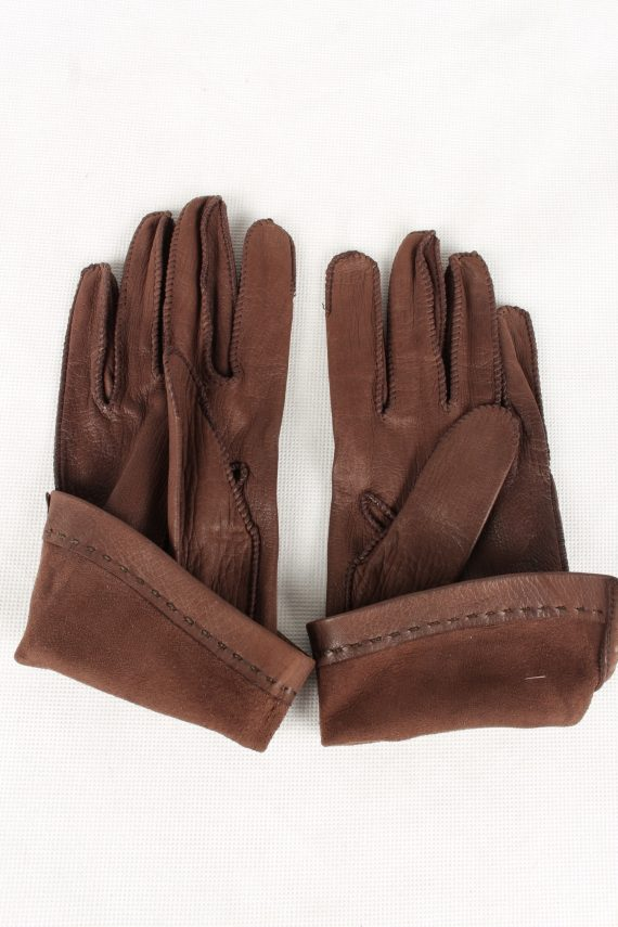 Vintage Womens Faux Leather Gloves 90s Brown G131-146535
