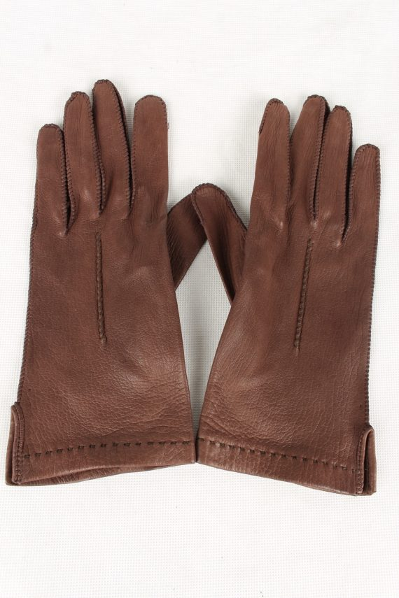 Vintage Womens Faux Leather Gloves 90s Brown G131-0