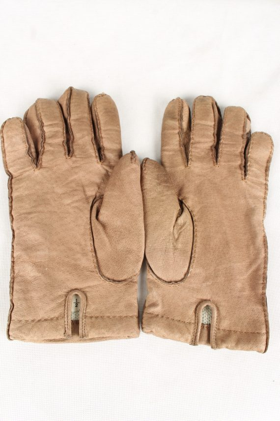 Vintage Unisex Faux Leather Gloves 90s Size 8.5 Brown G133-146542