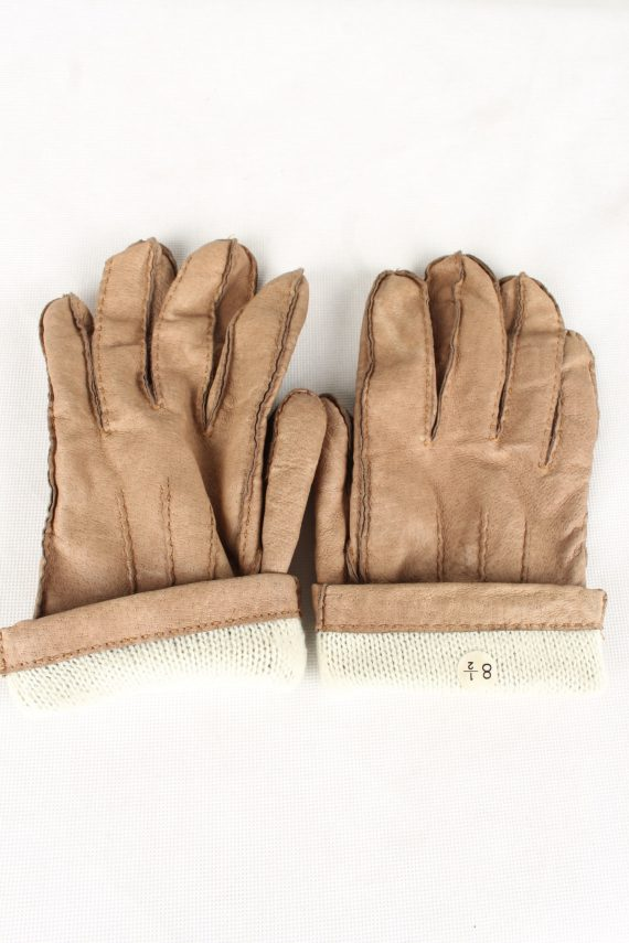 Vintage Unisex Faux Leather Gloves 90s Size 8.5 Brown G133-146543